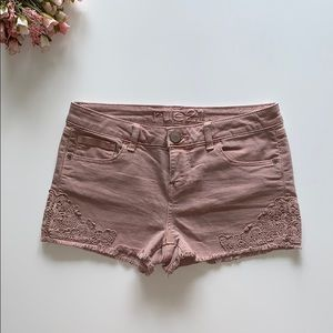 Light Pink Denim Shorts with Lace Detail